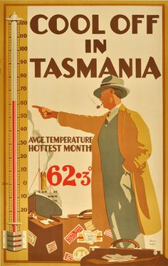 Vintage Travel 'Cool off in Tasmania: average temperature hottest month ̊' by Harry Kelly, Creating a positive positioning for the coldest state of Australia Art Deco Posters, Vintage Travel Posters, Vintage Ads, Poster Prints, Art Print, Posters Australia, Australian Vintage, Australia Travel, Australia Winter
