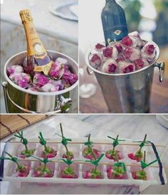 Flower ice cube decorations and champagne chiller duo Flower Ice Cubes, Snacks Für Party, Party Drinks, High Tea, Party Planning, Party Time, Tea Party, Fancy Party, Food And Drink