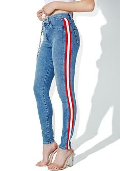 SIWY Denim Mattie High Waist Tuxedo Skinny Jeans cuz these are considered fancy, right bb? Play dress up in these jeans that feature a skinny curve-huggin' fit, medium blue wash, classikk 5-pocket design, and red and white stripes goin' down the sides.