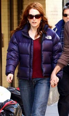 Julianne Moore In Purple North Face Nuptse