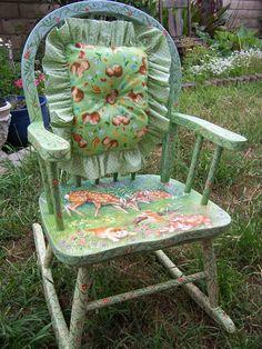 Child's Rocking Chair, hand painted, hand made pillow, children's furniture, Glenda Okiev