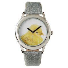 Cute yellow baby Chick girls wrist watch