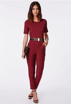 af302a2451 Alexa Belted Cap Sleeved Jumpsuit Wine - Jumpsuits - Missguided Missguided  Jumpsuit