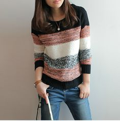 Round neck long-sleeved knit sweater jacket #AD100821HJ