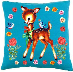Vintage Kitsch Deer Cushion by jollywolly on Etsy, $45.00