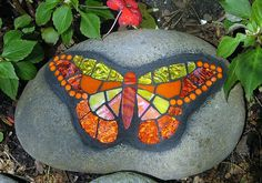 Mosaic Butterfly on Rock by siriusmosaics on Etsy.