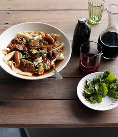 Australian Gourmet Traveller Chinese recipe for hand-cut egg noodles in broth with beef shin and tendon.