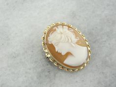 Small Cameo Pendant or Brooch Vintage Yellow Gold by MSJewelers