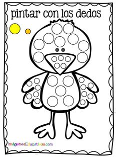 Fichas para pintar con los dedos - Imagenes Educativas Motor Activities, Infant Activities, Activities For Kids, Painting For Kids, Art For Kids, Kinder Mat, Sea Animal Crafts, Do A Dot, Dinosaur Crafts
