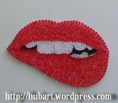 string art bitten lips
