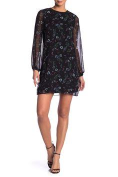 Floral Crew Neck Woven Dress by Kensie on Nordstrom Dresses, Nordstrom Rack, Rib Knit, Floral Prints, Cold Shoulder Dress, Crew Neck, Slip On, Dresses With Sleeves, Formal Dresses