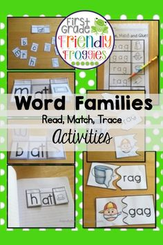 This resource is perfect for Back to School Lesson Planning! Trace and Read cards provide letter sound review for First Graders while practicing letter formation. Match, Cut and Glue worksheets complement the picture cards and sound flap activities. This resource includes: Interactive Alphabet Flaps (solid) (26) (dotted / trace the letter) (26) Trace the Word / Match the initial sound Word Family Activities, Cvc Word Families, Hands On Activities, Literacy Activities, Literacy Centers, Kindergarten Lesson Plans, Preschool Kindergarten, Word Building, Letter Formation