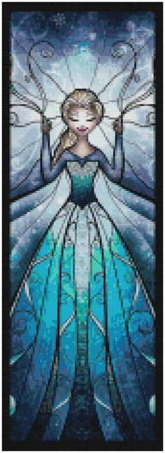 Cross Stitch Pattern DISNEY Characters #1 5 Patterns PDF File Elsa, Anna, Rapunzel, Gothel and Merida