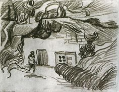 Houses among Trees with a Figure, 1890 Vincent van Gogh
