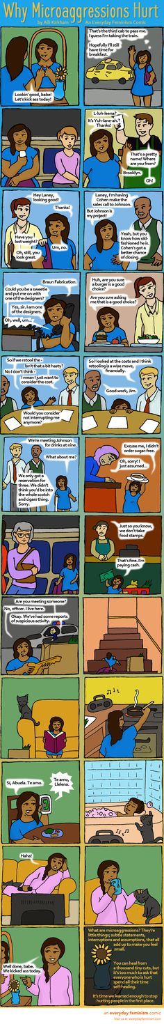 """""""Grow thicker skin!"""" Microaggressions are small forms of discrimination – which may make you wonder if you or other people are just being too sensitive when microaggressions hurt. This comic puts that theory to rest."""
