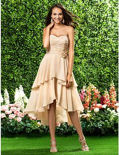 A-line Sweetheart Asymmetrical Chiffon Bridesmaid Dress - Get $25 Off Upto $225 Purchasing by Using CPNPAL25 Promo Code Only at Lightinthebox.