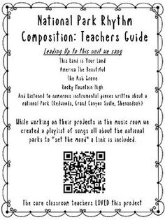 National Park Rhythm Composition Classroom Projects, Classroom Resources, Mountain Music, Cross Curricular, Music Ed, Spring Activities, Music Store, Music Classroom, Teamwork