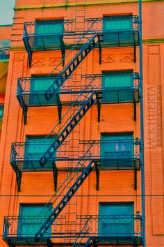 Fire Escape Photograph  8x12 Photograph  Old by JackHuertaPhoto