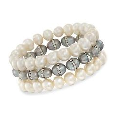 Set of Three White and Gray Pearl Bracelets. Adjustable Size
