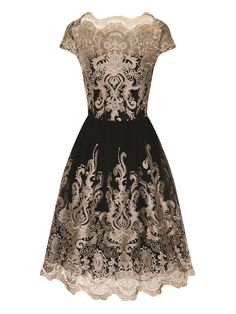 1950s Party Dress - Chi Chi London Metallic embroidered tea dress Black AT vintagedancer.com