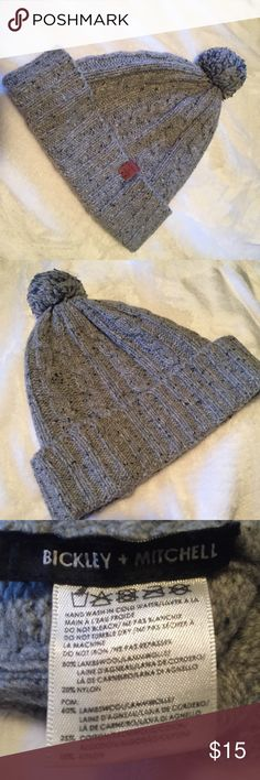 Bickley + Mitchell Winter Hat Adorable gray Bickley + Mitchell lambswool blend winter beanie with pom.  Ribbed cuffs. Purchased from Saks Fifth Avenue fall 2016. Unisex. Bickley + Mitchell Accessories Hats