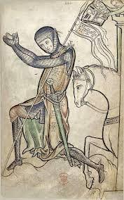 Ιππότης γονατίζει δηλώνοντας πίστη προτού αναχωρήσει για τις Σταυροφορίες ενώ ο υπηρέτης του (πάνω δεξιά) ετοιμάζεται να τοποθετήσει στην κεφαλή του το πολεμικό του κράνος. Παρατηρήστε τους σταυρούς που φέρει στο σύνολό του ο εξοπλισμός του ιππότη. Γιατί πιστεύετε συμβαίνει αυτό ; Η εικόνα προέρχεται από το Ψαλτήρι του Westminster (13ος αι.) και βρίσκεται στη Βρετανική Βιβλιοθήκη (British Library)