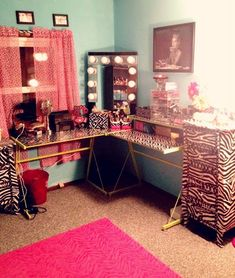 Pretty Addictions  Makeup room tour  transform in a craft room Girly girl room super cute makeup vanity and desk    My Own Space  . Corner Makeup Vanity Ideas. Home Design Ideas