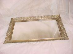 Vintage Hollywood Regency Vanity Tray w Mirror Gold tone Ornate Shabby 10 by 15