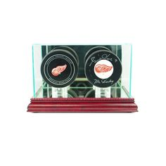 Double Hockey Puck Glass Display Case
