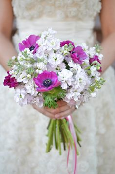 purple and white wedding bouquet // photo by Jessica Schmitt // bouquet by G! Designs