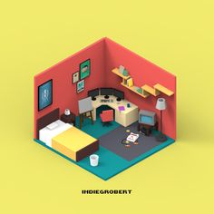 ArtStation - Isometric room, ruimin zhu
