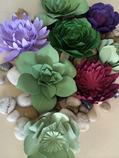 Paper Succulent Plants - Perfect for escort cards, table decor or thank you gifts. www.paperflora.com