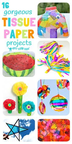 16 of the best tissue paper crafts for kids that will have them exploring and experimenting with this colorful and cheap art resource in a multitude of fun and exciting ways.