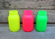 Set of 3 Large Painted Mason Jars in Neon Colors. Be awesome as a centerpiece with some neon flowers in it