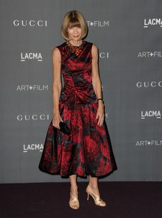 Anna Wintour looked lovelier than ever in this drop-waist print dress at the Art + Film Gala.  Brand: Rochas