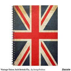 Vintage Union Jack British Flag Spiral Notebook