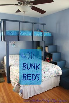 How to make DIY bunk beds for the kids' room, with vibrant color from Wagner's paint sprayer.