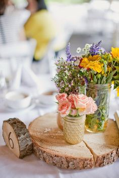 woodsy rustic boho wedding centerpieces