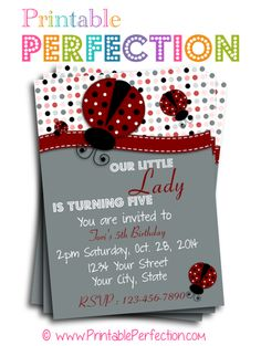 Birthday Party Invitation - Red Ladybug 2 - Vertical