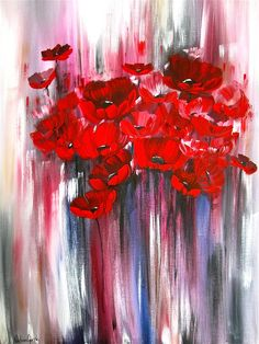 "Red Floral Painting ""Sing To Me"" Acrylic on Canvas by Nikolina Gorisek on FAA♥♥"