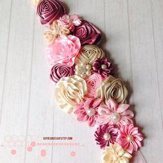 Maternity flower sash/ gender reveal flower sash ,regnant flower ribbon belt , flower belt , ribbon belt , pregnent photo flower belt on Etsy, $39.00