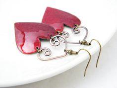 Enamel earrings   HEART  copper  valentine  love by Doorsignforyou, $40.00
