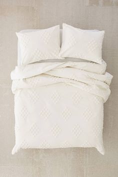 Petra Embroidered 200 Thread 100/%Cotton Minimalist White Duvet Cover Set