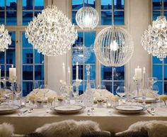 All White Christmas Decorating Ideas - Glittering Chandeliers - Click Pic for 25 DIY Holiday Decorating Ideas