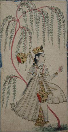 www.IndianMiniaturePaintings.co.uk - From a ragamala series: Detail: Gujari Ragini. Deccan, circa 1780. Coloured brush-drawing with gold highlights on wasli