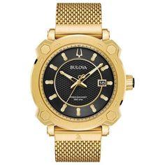 #Zales - #Zales Men's Bulova Precisionist Special Grammy® Edition Gold-Tone Mesh Watch with Black Dial (Model: 97B163) - AdoreWe.com