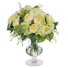 Jane Seymour Mixed Ranunculus Bouquet in Footed Glass Vase - SDP226-CRGR