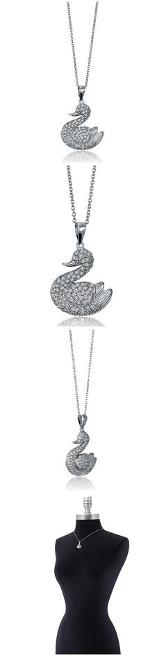 Sterling Silver CZ Duck Fashion Necklace