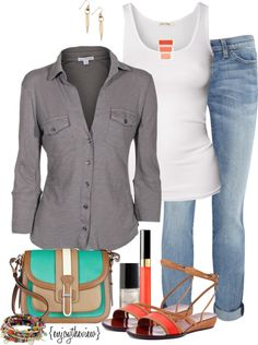 """""""grey, teal, & tangerine"""" by enjoytheview on Polyvore"""