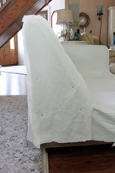 How to make a sectional slipcover, step-by-step with Confessions of a Serial Do-it-Yourselfer Sectional Covers, Sectional Slipcover, Armchair Slipcover, Slipcovers, Couch Covers, Diy Furniture Redo, Furniture Upholstery, Furniture Design, Home Decor Colors